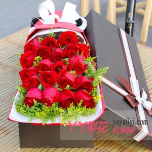 燃烧的爱-19朵红玫瑰咖色礼盒节日送花