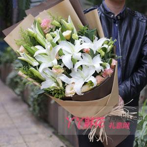 真摯的愛 - 18朵白百合生日鮮花