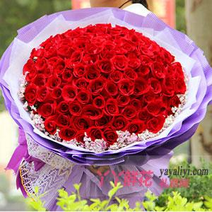 99朵紅玫瑰配相思梅