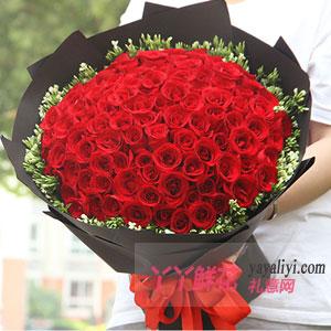 一往情深 - 99朵红玫瑰配情人梅