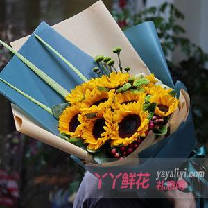 10朵向日葵配小绿菊