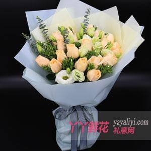 鮮花速遞19朵香檳玫瑰花