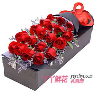 紅色幸福-19朵紅玫瑰情人草禮盒