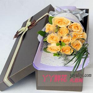 爱情誓约-11朵香槟玫瑰水晶草礼盒