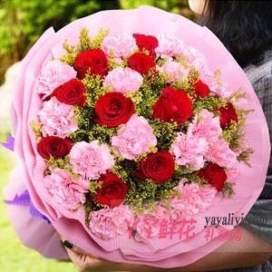 温馨祝福-17朵粉色康乃馨12枝红玫瑰