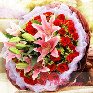 珍惜-33朵紅玫瑰6朵粉色百合