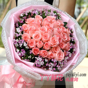 一往情深-33朵粉玫瑰相思梅点缀