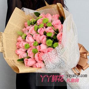 33朵粉玫瑰雛菊點綴