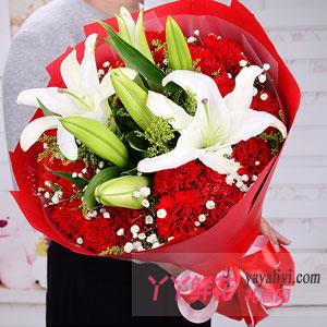朝氣蓬勃-19朵紅康乃馨2枝多頭百合