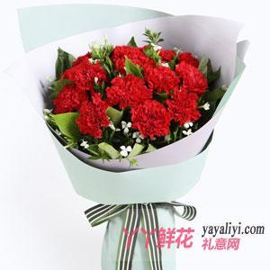 2020年母親節送11枝紅色康乃馨相思梅梔子葉
