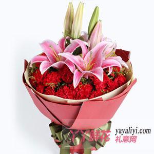 老人60岁生日送29枝红康乃馨2枝粉百合
