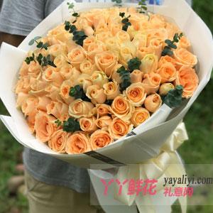 久久的爱-99朵香槟玫瑰尤加利叶