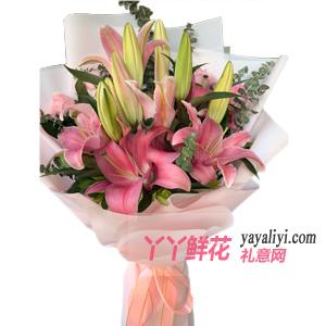 送闺蜜19朵粉色香水百合(好时光)