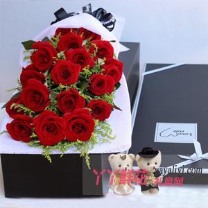 19朵红玫瑰礼盒送2小熊