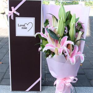 12朵粉色百合礼盒