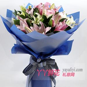 花开团圆-7枝粉色百合4枝白色多头百合