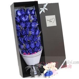 情人節送33朵藍色妖姬配情人草2小熊禮盒
