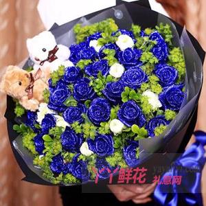 守护爱情-33朵蓝色妖姬配桔梗绿叶丰满2只小熊