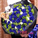 33朵蓝色妖姬配桔梗绿叶丰满2只小熊