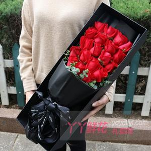 19朵红玫瑰尤加利叶点缀