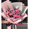 11枝粉色康乃馨搭配相思梅尤加利葉