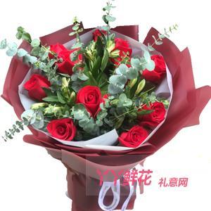 11朵卡罗拉红玫瑰8朵橙色水仙百合适量尤加利