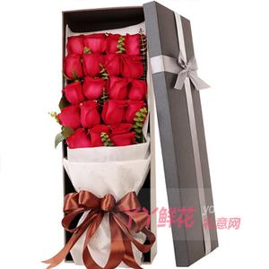圣诞节送19朵优质红玫瑰搭配尤加利叶咖色礼盒