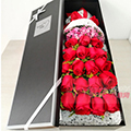 19朵紅玫瑰搭配黃鶯相思梅咖色禮盒