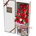 19朵红玫瑰2枝粉桔梗尤加利叶间插