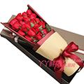 19朵红玫瑰搭配尤加利叶礼盒