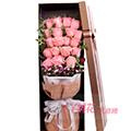 19朵粉玫瑰石竹梅丰满点缀栀子叶