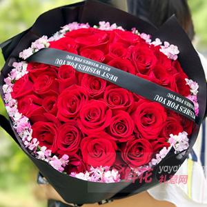 七夕33朵紅玫瑰圍相思梅