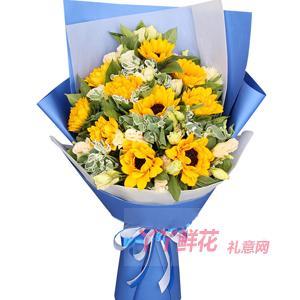 10支向日葵適量白色洋桔...