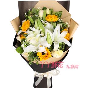 最好的禮物-5支向日葵4支多頭白百合適量桔梗梔子葉相思梅