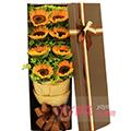 8支向日葵搭配適量黃鶯咖色禮盒