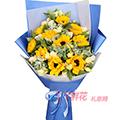 10支向日葵適量白色洋桔梗葉上花梔子葉