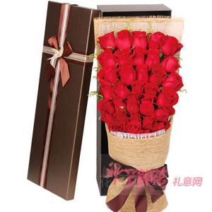 33朵精品红玫瑰搭配黄莺礼盒