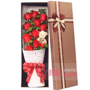 11朵紅玫瑰葉上黃金1只小熊禮盒