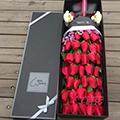 33朵紅玫瑰搭配勿忘我2個小熊禮盒
