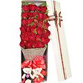 33枝红玫瑰搭配黄莺满天星礼盒送2小熊