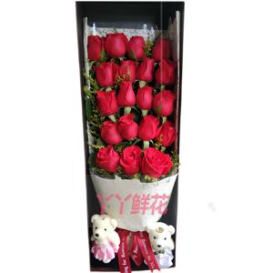 快乐常伴-19朵红玫瑰搭配黄莺送2小熊