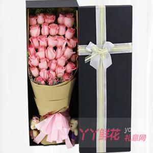 相識相知相愛-33朵粉玫瑰搭配情人草2只小熊禮盒