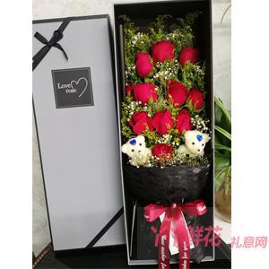 11朵紅玫瑰2小熊灰黑色...