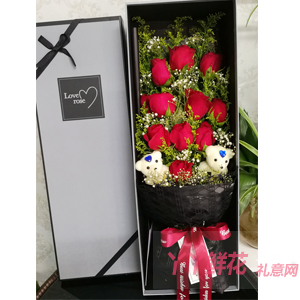 一生的幸福-11朵紅玫瑰2小熊灰黑色高檔時尚禮盒