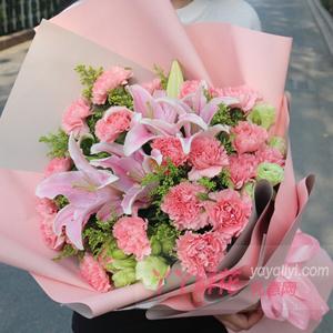 妈妈50岁生日送19朵粉色康乃馨6朵粉百合配黄莺桔梗