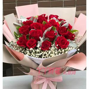 19朵红玫瑰搭配绿叶银叶...