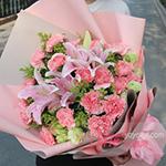 19朵粉色康乃馨6朵粉百合配黄莺桔梗